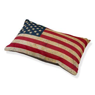 Vintage American Flag Dog Bed