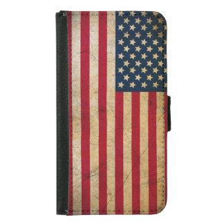 Vintage American Flag Galaxy S5 Wallet Case