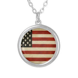 Vintage American Flag GIFTS Round Pendant Necklace