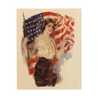 vintage american flag girl wood print