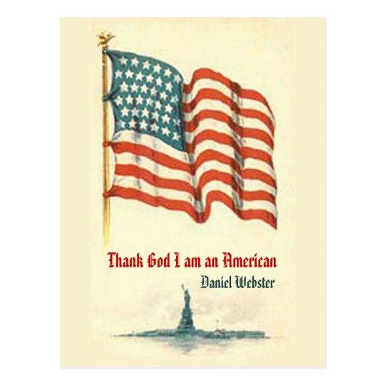 Vintage American Flag Gratitude Postcard