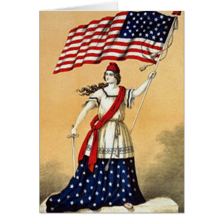 Vintage American Flag Lady Liberty Cards