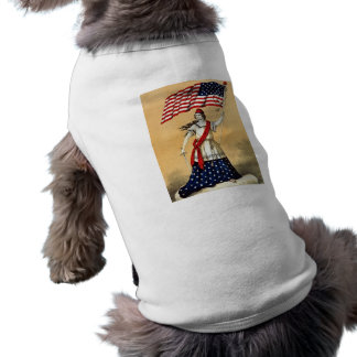 Vintage American Flag Lady Liberty Doggie T-shirt