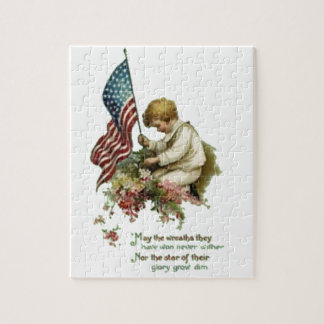 Vintage American Flag Little Boy Memorial Day Jigsaw Puzzle