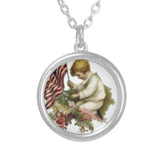 Vintage American Flag Little Boy Memorial Day Necklace