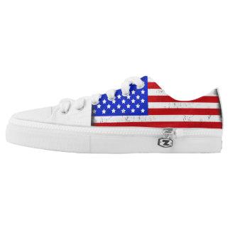 Vintage American Flag Low Tops Printed Shoes