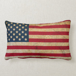 Vintage American Flag Lumbar Pillow