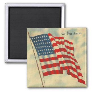 vintage American Flag Square Magnet