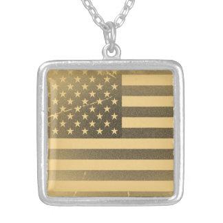 Vintage American Flag Square Pendant Necklace