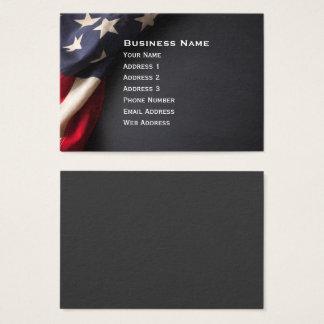 Vintage American Flag on Chalkboard Business Card