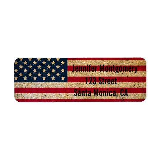Vintage American Flag Return Address Labels