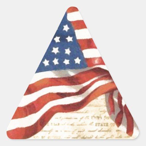 Vintage American Flag Triangle Sticker