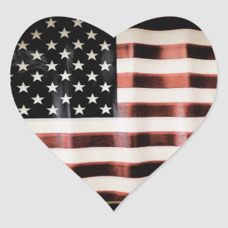 Vintage American Flag Heart Stickers