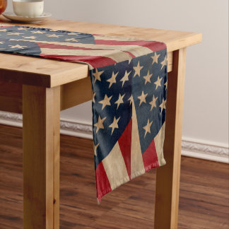 Vintage American Flag Table Runner