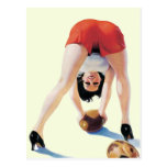 Vintage American football pin-up poster Postcard