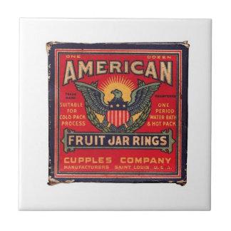 Vintage American Fruit Jar Rings Tile