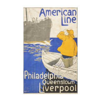 Vintage American Line Philadelphia Liverpool Ocean Canvas Print