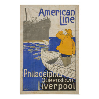 Vintage American Line Philadelphia Liverpool Ocean Poster