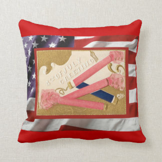 Vintage  American Patriotic, 4th July Firecrackers Pillow