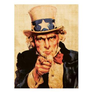 Vintage American Patriotic Uncle Sam Postcard