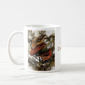 Vintage American Red Crossbill Birds Winter Pine Coffee Mug