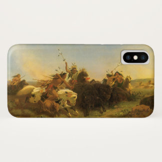 Vintage American West Art, Buffalo Hunt by Wimar iPhone X Case