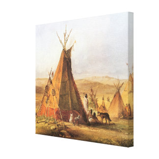 Vintage American West, Teepees on Plain by Bodmer Stretched Canvas Print