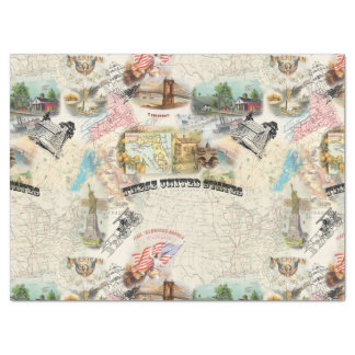 Vintage Americana Collage Tissue Paper