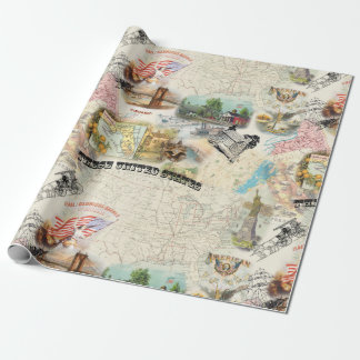 Vintage Americana Collage Wrapping Paper