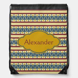 Vintage Americana Drum Personalized Drawstring Bag