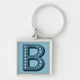Vintage Americana, ornamental monogram B Silver-Colored Square Key Ring