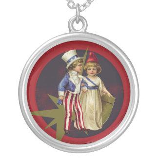 Vintage Americana Round Pendant Necklace