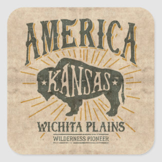 Vintage Americana Wichita Kansas Bison Logo Square Sticker