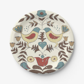 Vintage Amish Birds Country Cottage Paper Plate