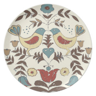 Vintage Amish Birds Country Cottage Plate