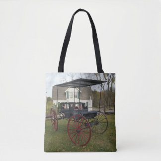 Vintage Amish Buggy in Front of Farmhouse Tote Bag