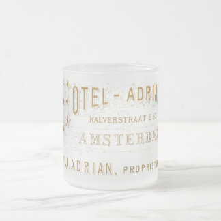 Vintage Amsterdam Hotel Adrian Advertisement Frosted Glass Coffee Mug