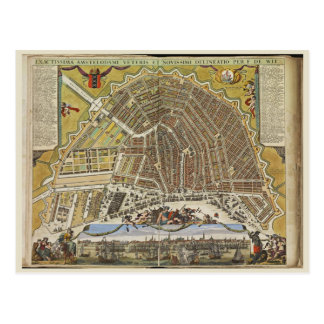 Vintage Amsterdam map Post Cards