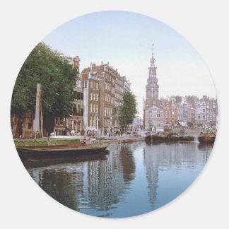 Vintage Amsterdam Photo-Picture Round Sticker