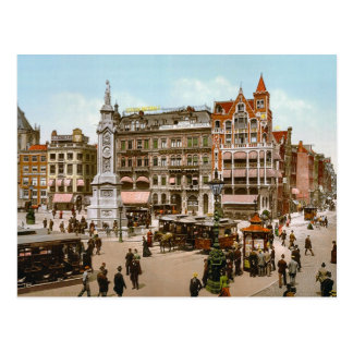 Vintage Amsterdam, Trams in the Dom Plat Postcard