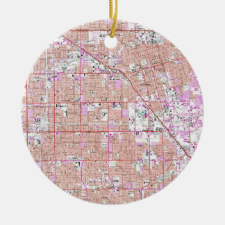 Vintage Anaheim & Garden Grove CA Map (1965) Ceramic Ornament