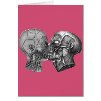 Vintage Anatomical Head kissing Card
