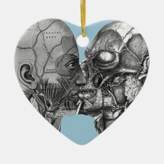 Vintage Anatomical Head kissing Ceramic Ornament