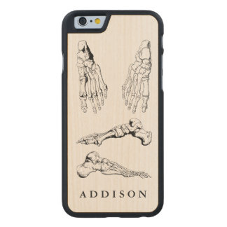 Vintage Anatomy Art Bones of the Foot Carved Maple iPhone 6 Case