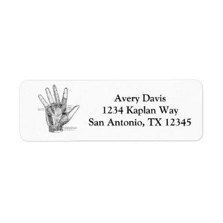 Vintage Anatomy Art The Palm of the Hand Return Address Label