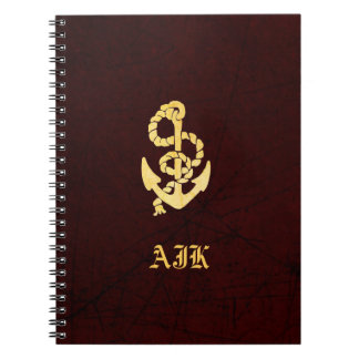 Vintage Anchor Faux Scratched Leather Nautical Notebook