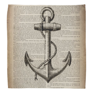 vintage anchor ocean map beach fashion nautical bandana