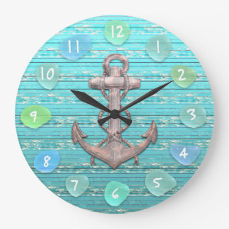 Vintage Anchor Sea Glass Beach Driftwood Ocean Large Clock
