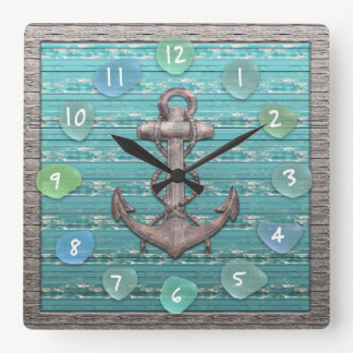 Vintage Anchor Sea Glass Beach Driftwood Ocean Square Wall Clock