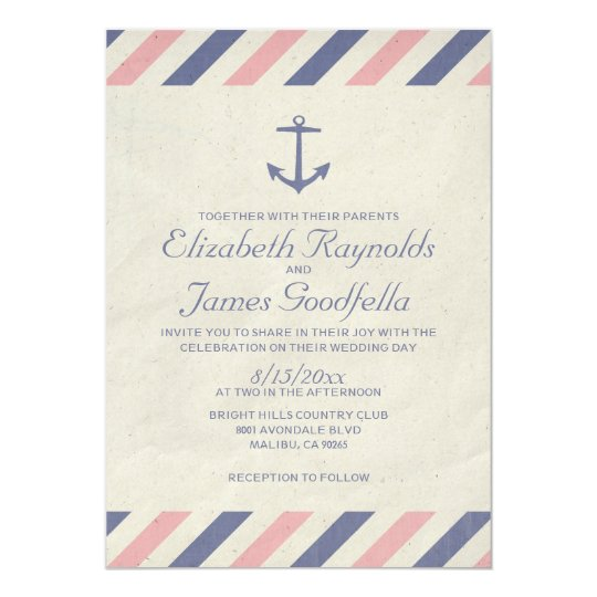 Vintage Anchor Wedding Invitations